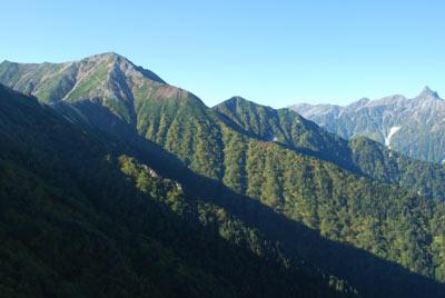 大天井岳とコースが見える