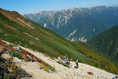 槍ヶ岳と大天井岳への分岐